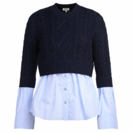 Kenzo  blue cotton sweater with light-blue shirt  women's Sweater in Blue