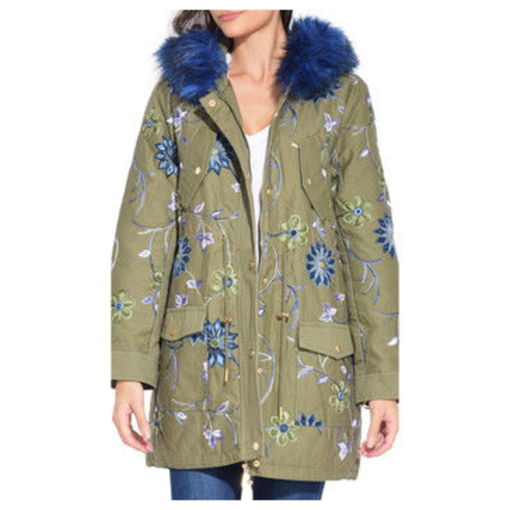 101 Idees  Hooded coat  women's Coat in Green