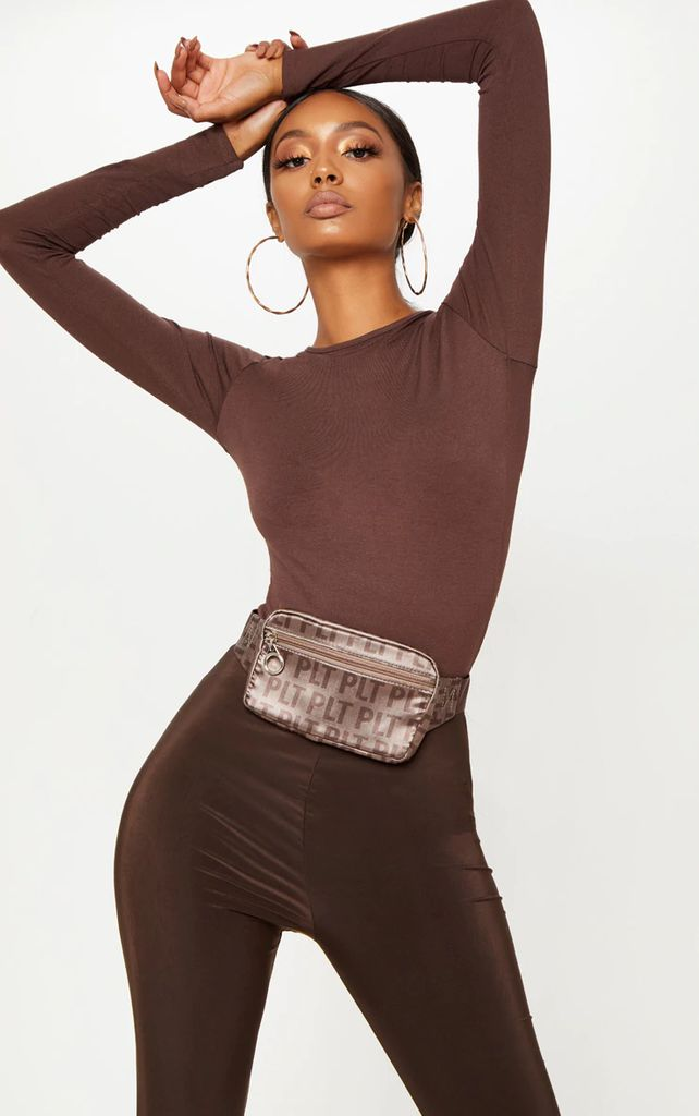 Basic Chocolate Long Sleeve Fitted T Shirt, Chocolate