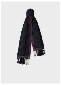 Women's Navy Check Double-Sided Wool Scarf