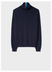 Women's Dark Navy Cashmere Roll-Neck Sweater