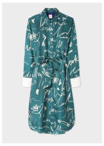 Women's Teal 'Ideas Script' Print Silk Shirt Dress
