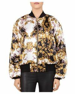 The Kooples Baroque Silk Bomber Jacket