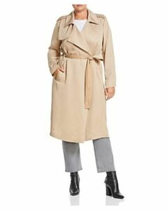 Badgley Mischka Plus Faux-Leather Trim Trench Coat