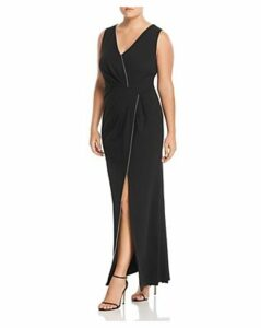 Adrianna Papell Plus Embellished Twist-Front Gown