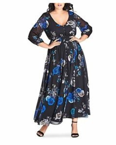 City Chic Plus Floral-Print Maxi Dress