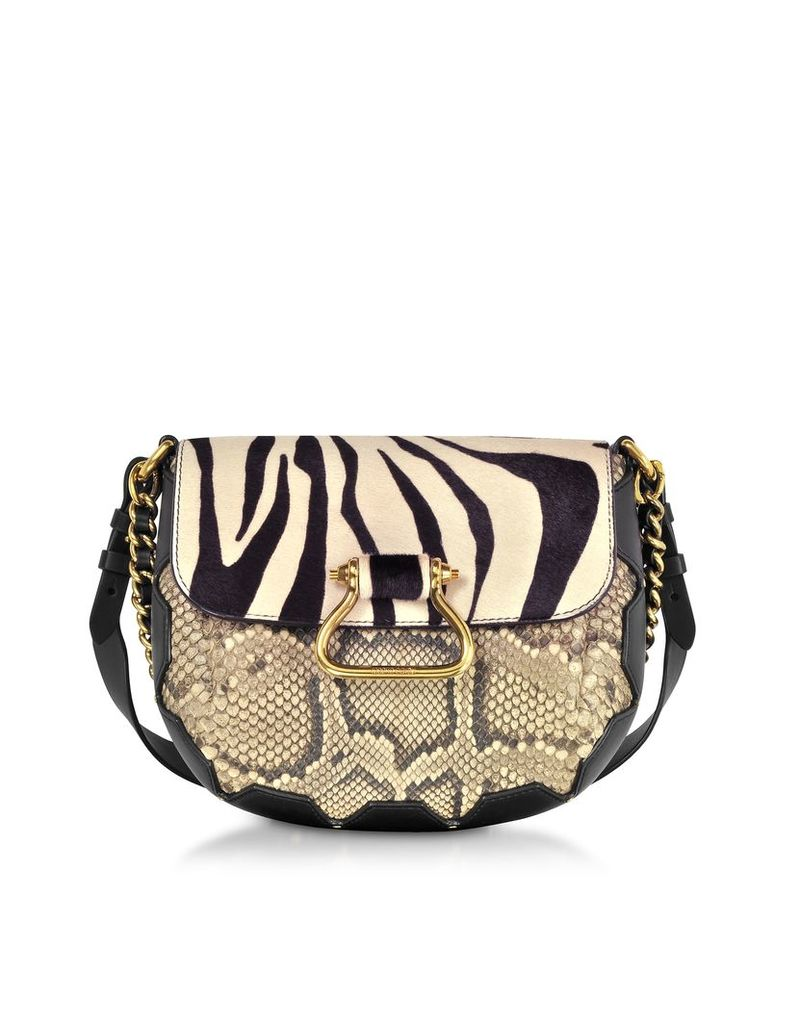 Roberto Cavalli Designer Handbags, Black/Alabaster Zebra Pony Hair and Gold Python Medium Shoulder Bag
