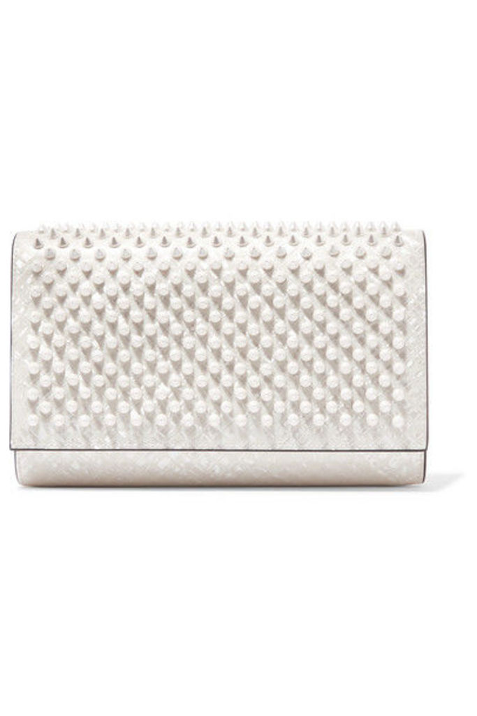 Christian Louboutin - Paloma Spiked Patent-leather Clutch - White