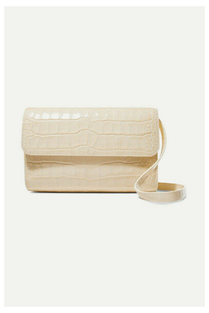BY FAR - Cross-over Croc-effect Leather Shoulder Bag - Cream