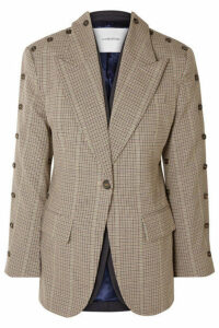 Pushbutton - Convertible Button-embellished Checked Wool-blend Blazer - Beige