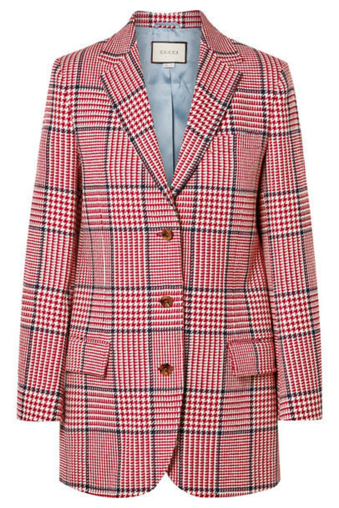 Gucci - Prince Of Wales Checked Wool-blend Blazer - Red