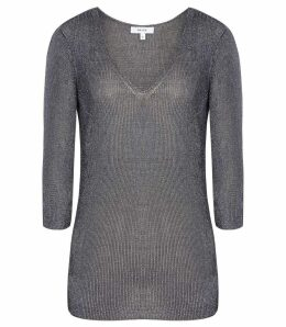 Reiss Carissa - Metallic Knitted Top in Steel Blue, Womens, Size XXL