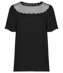 Reiss Asia - Sheer Detail Top in Black, Womens, Size 14