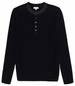 Reiss Hopeton - Ribbed Henley Jumper in Navy, Mens, Size XXL