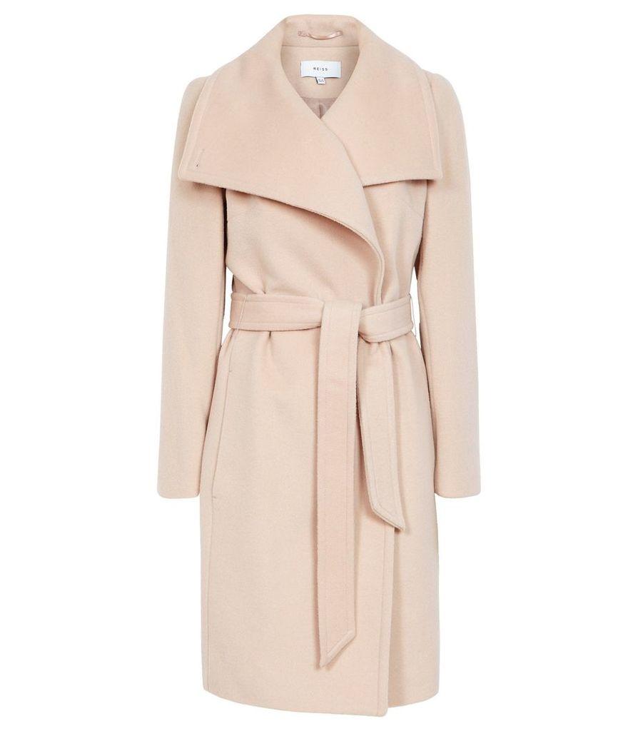 Reiss Luna - Wool Self Tie Coat in Light Taupe, Womens, Size 14