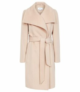 Reiss Luna - Wool Self Tie Coat in Light Taupe, Womens, Size 14
