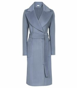 Reiss Faris - Belted Longline Coat in Light Blue, Womens, Size 14