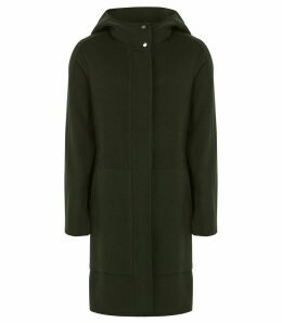 Reiss Delaney - Wool Blend Hooded Coat in Green, Womens, Size 14