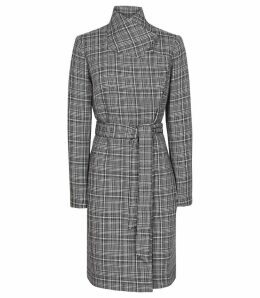 Reiss Hardie - Checked Coat in Black/white, Womens, Size 14