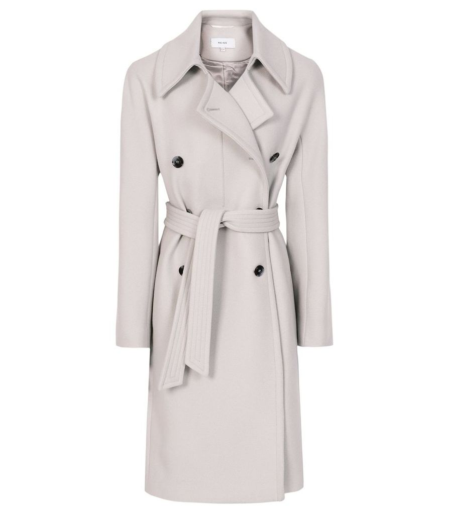 Reiss Eilish - Double Breasted Coat in Neutral, Womens, Size 14