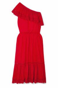 Melissa Odabash - Jo One-shoulder Crochet Lace-trimmed Voile Midi Dress - Red
