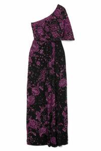 Zuhair Murad - One-shoulder Embellished Silk-blend Gown - Dark purple
