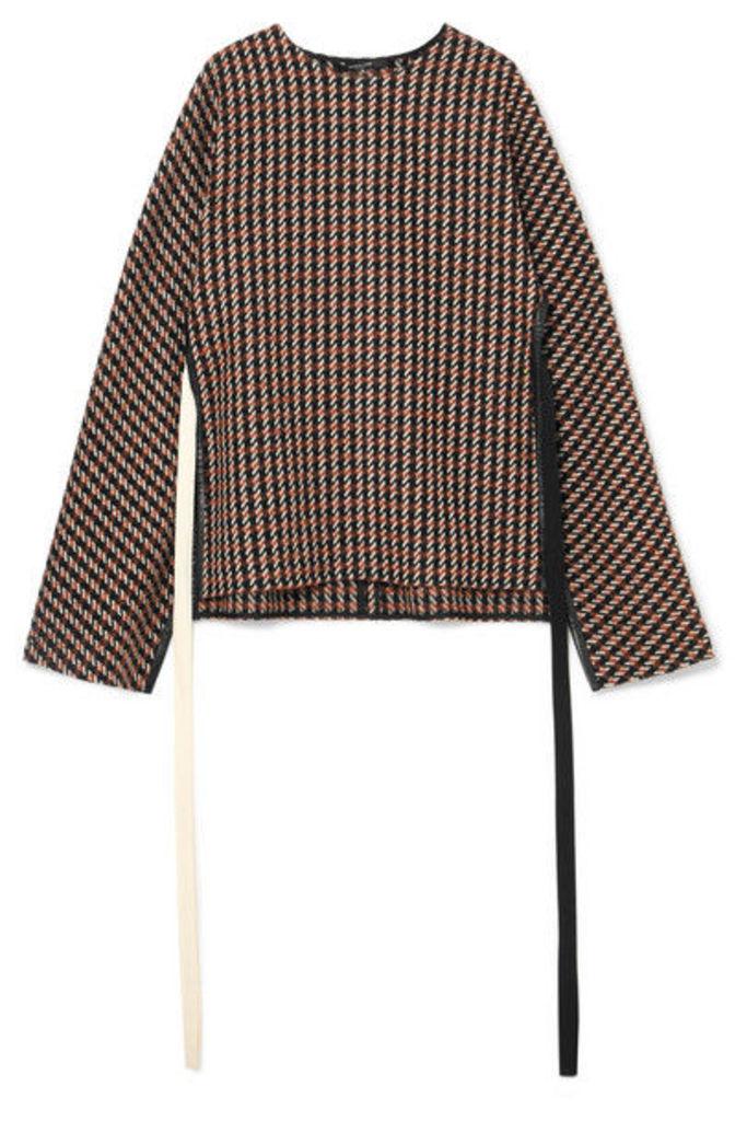 Derek Lam - Leather-trimmed Checked Wool-blend Tweed Poncho - Brown