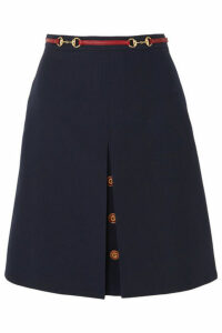 Gucci - Leather-trimmed Wool And Silk-blend Midi Skirt - Blue