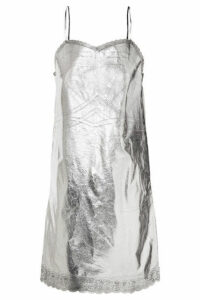 MM6 Maison Margiela - Metallic Lace-trimmed Coated-shell Dress - Silver