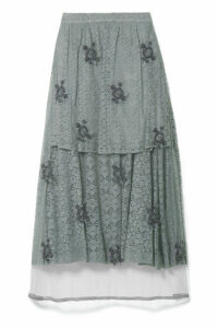 Stella McCartney - Embroidered Tulle-paneled Corded Lace Midi Skirt - Gray