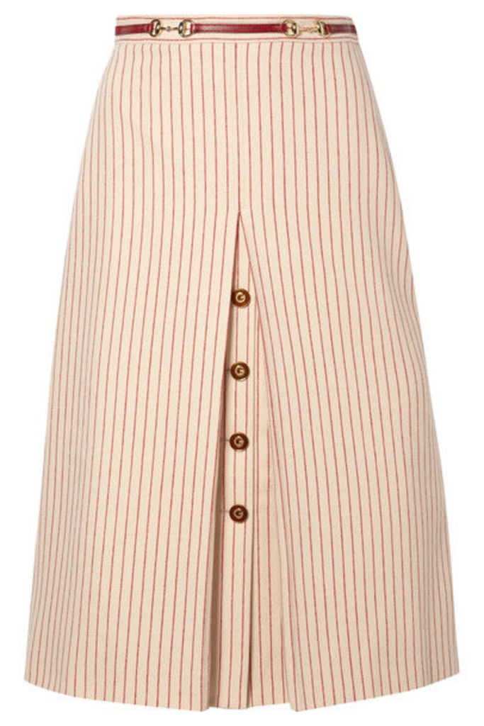 Gucci - Leather-trimmed Paneled Pinstriped Wool Midi Skirt - Ivory