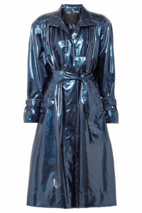 Marc Jacobs - Belted Metallic Vinyl Trench Coat - Blue