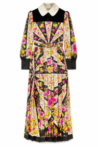 Gucci - Velvet-trimmed Pleated Floral-print Silk-twill Maxi Dress - Pink