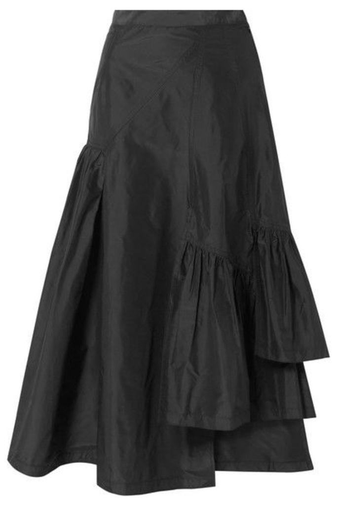 3.1 Phillip Lim - Asymmetric Ruffled Silk-taffeta Midi Skirt - Black