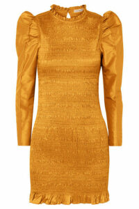 Ulla Johnson - Aurele Shirred Taffeta Mini Dress - Mustard