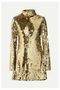 Halpern - Sequined Tulle Turtleneck Mini Dress - Gold