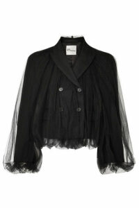 Noir Kei Ninomiya - Cropped Wool And Tulle Blazer - Black