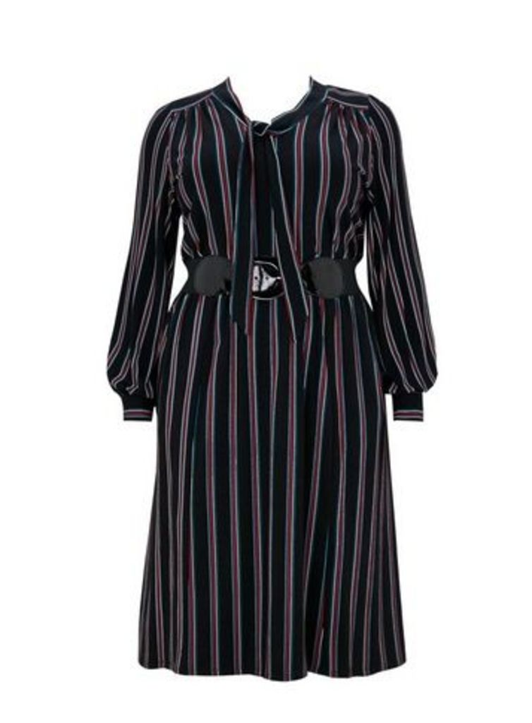 **Scarlett & Jo Bow Stripe Dress, Black