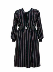 **Scarlett & Jo Bow Stripe Dress, Black