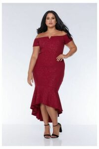 Quiz Curve Berry Glitter Bardot V Bar Dip Hem Dress