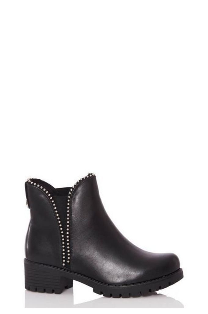 Quiz Black Stud Detail Chunky Chelsea Boot