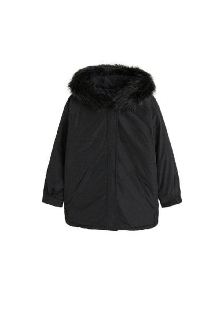 Detachabled faux fur hood anorak