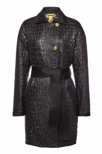 Versace Embossed Coat with Silk Lining