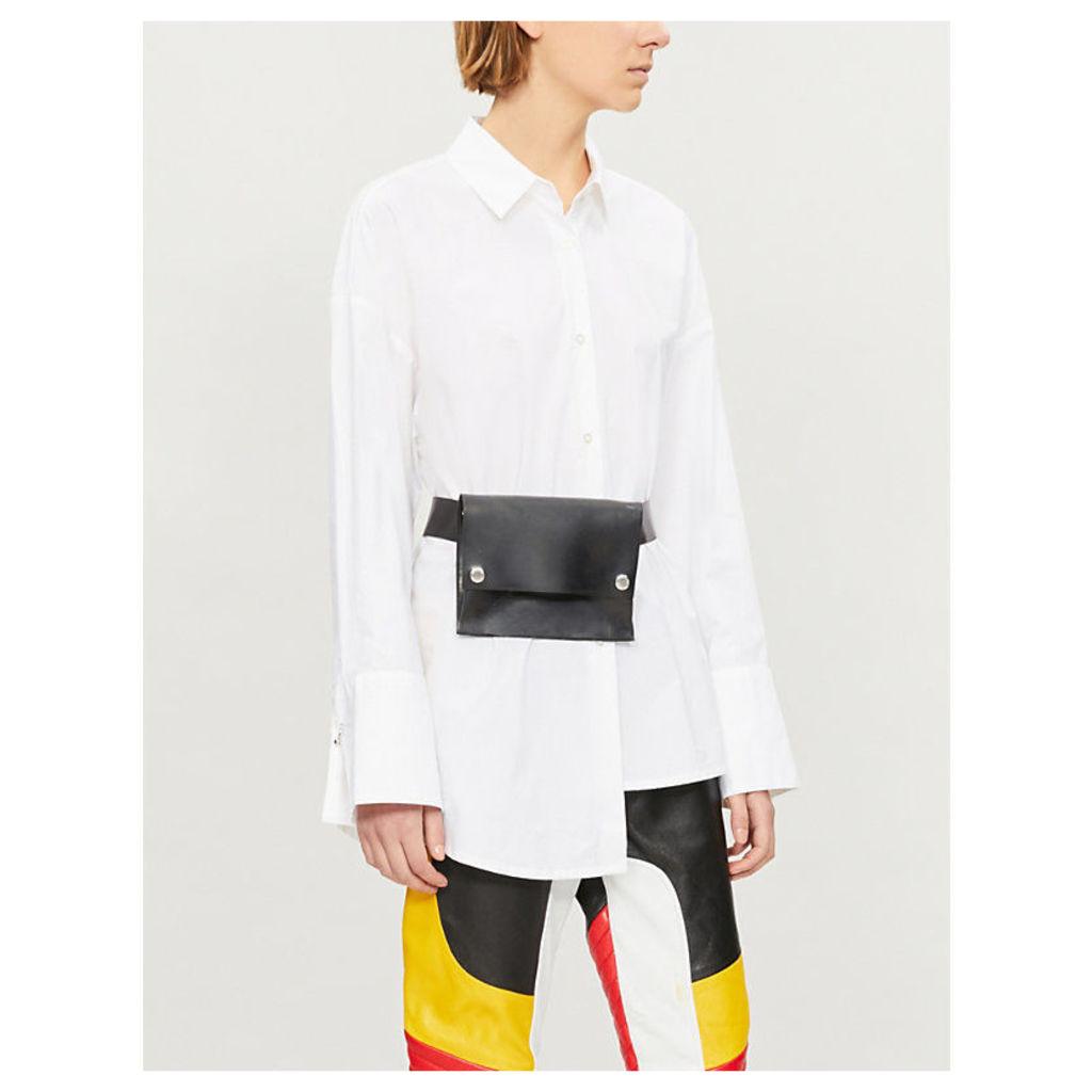 Asymmetric-hem cotton-poplin shirt