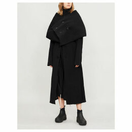 Cape-back wool-crepe-blend and cotton-blend coat
