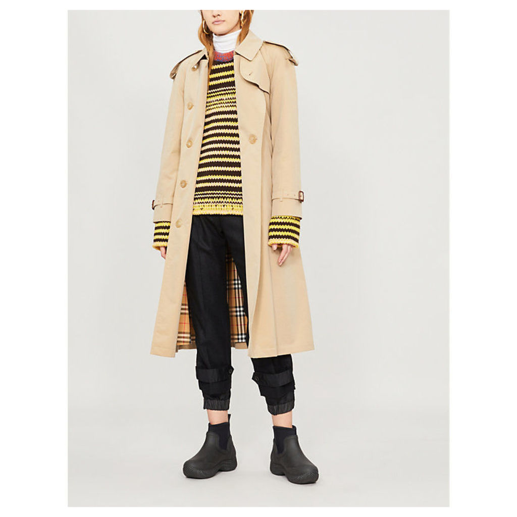 Burberry Protective Womens Brown Check The Long Westminster Heritage Cotton Trench Coat