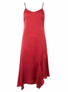 Womens Red Satin Strappy Slip Dress- Red, Red