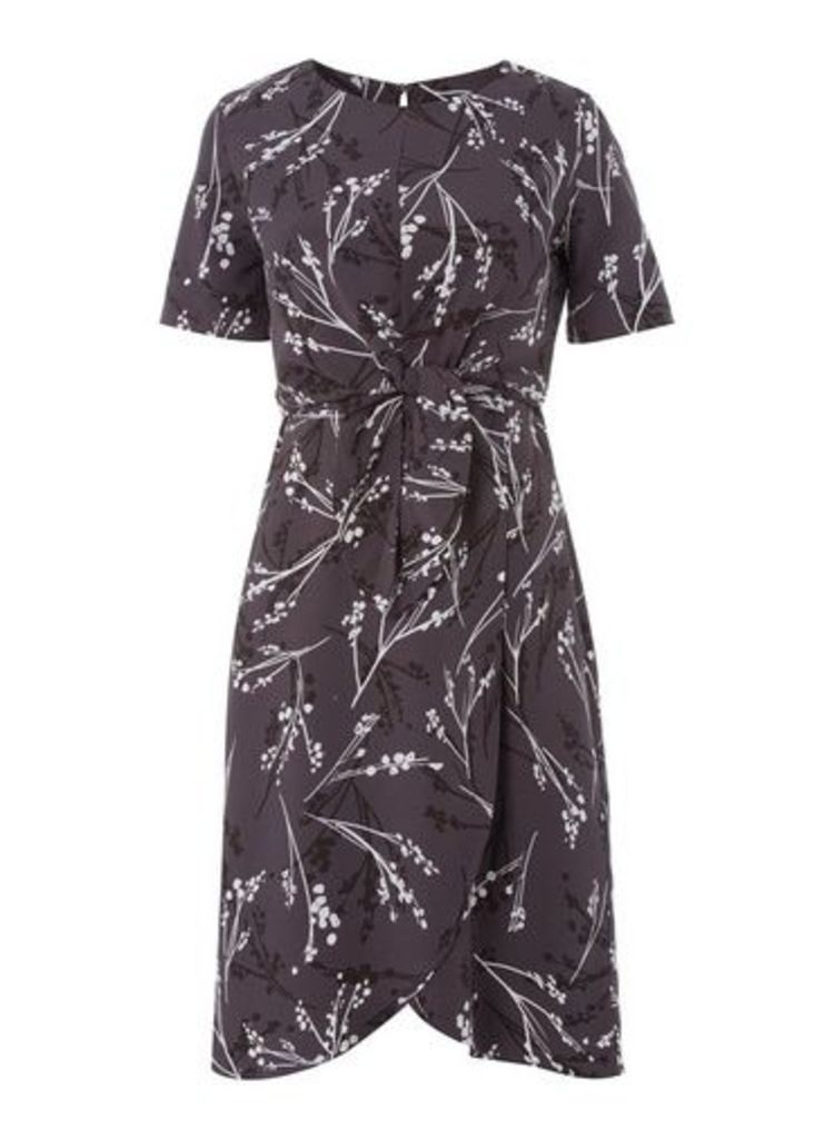 Womens * Roman Originals Grey Tie Front Dress- Grey, Grey