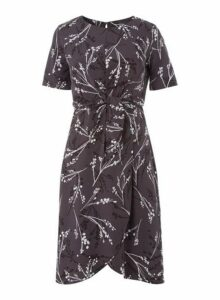 Womens *Roman Originals Grey Tie Front Wrap Dress- Grey, Grey