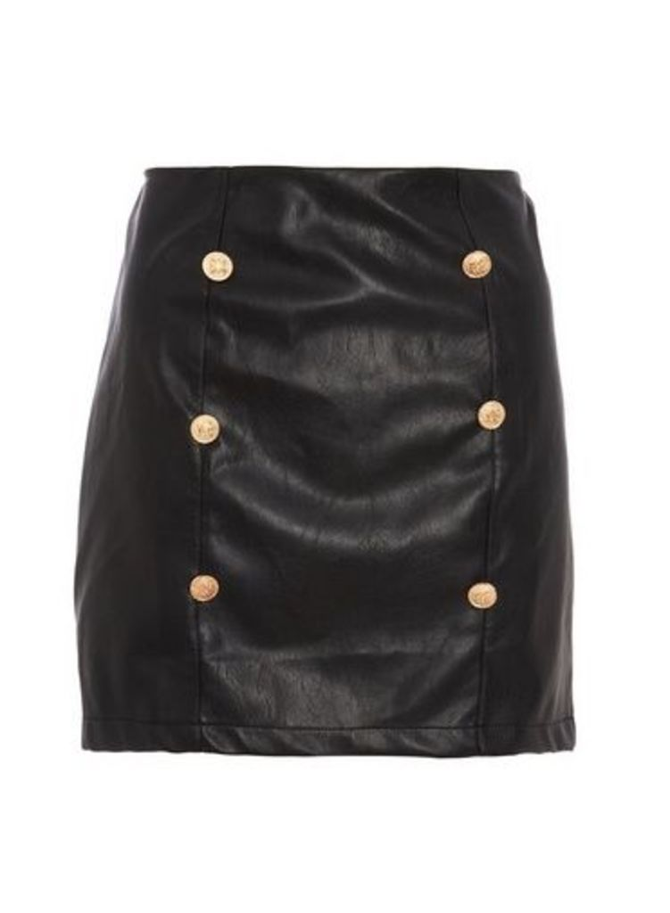 Womens * Quiz Black And Gold Button Skirt- Multi, Multi